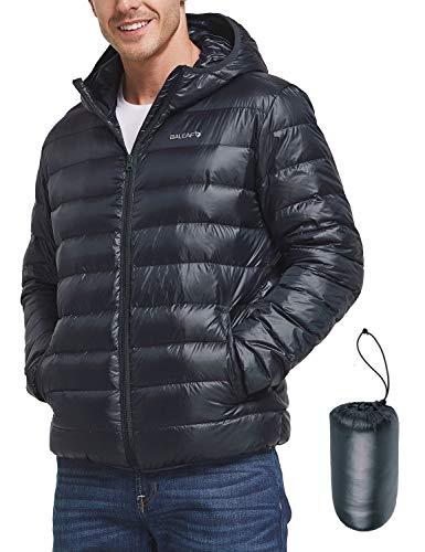 BALEAF Men's Lightweight Packable Hooded Down Jacket Dark Blue L