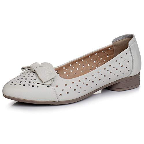 Hueco Las Antideslizantes de Parte los la de resbalón white de cómodos Mujeres FLYRCX del Suave Inferior los Cuero Zapatos Embarazadas arquean Zapatos Planos YpqdCnw
