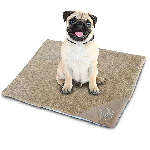 WarmShe Pet Bed Mat Self Heating Snooze Pad for Pets Cats, Dogs and Kittens for Travel or Indoor Outdoor Home, Brown