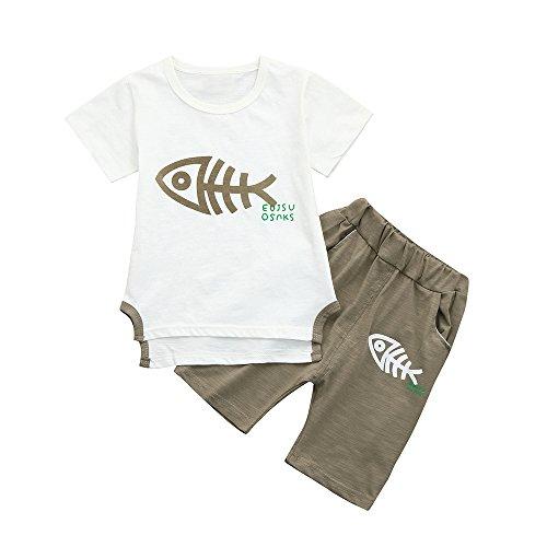 (Rakkiss Kids Clothes Set Fish Bone Print Vest+Pants Tracksuit Outfit Romper Tops Khaki)