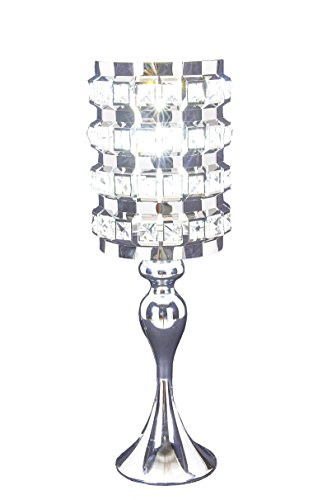 SwanHouse Crystal Chandelier Silver Modern Classic Table Lamp BSH-KOQ-W7xH19 by SwanHouse