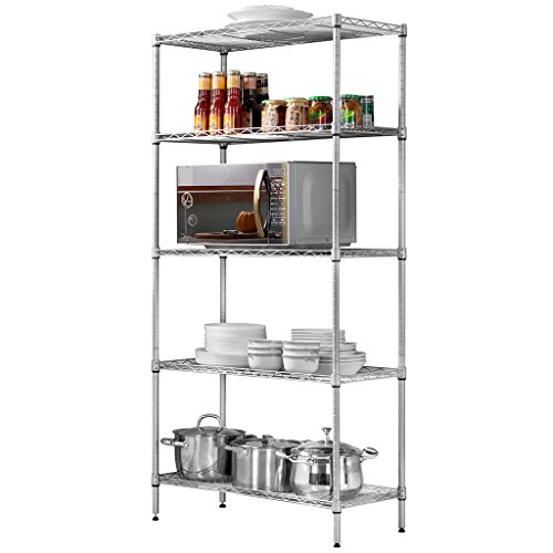 LANGRIA 5 Tier Stand Storage Rack, Kitchen Wire Shelving with Spice Rack Organizer, Silver Grey