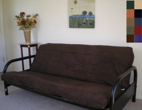 OctoRose FULL Size Bonded Classic Soft Micro Suede Futon Cover (Chocolate Brown)