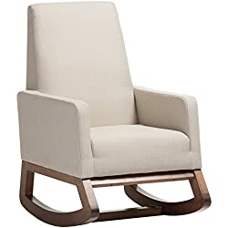 Baxton Studio Yashiya Mid Century Retro Modern Fabric Upholstered Rocking Chair, Light Beige