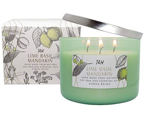 omatheraphy Candles 3 Wick Pure Soy Wax Scented Candle 80 Hour Burn Long Lasting 16 Ounce Handmade Glass (Lime Basil Mandarin) ()