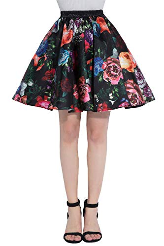 Satin Skirt Mini Pleated - DYS Women's Stretchy Waist A-line Floral Printed Flared Casual Mini Skirt Vintage F-07 4XL/5XL