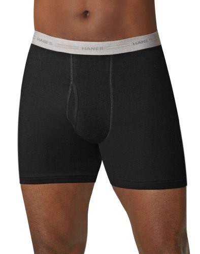 Hanes Men's Tagless Boxer Briefs with Comfort Flex Waistband (Small, Black/Grey - 5 Pack)