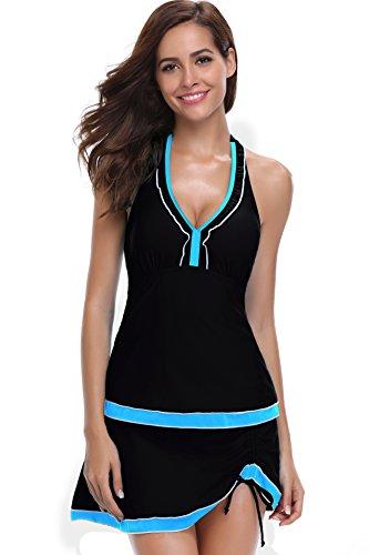 640eb7533c0 SHEKINI Women Swimwear Built-in Shorts Backless Lace Up Swim Top Retro  Swimdress Two Piece