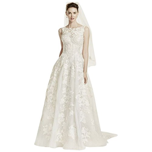 Sample: Oleg Cassini High Neck Tank Lace Wedding Dress Style AI14010471, Ivory, 10