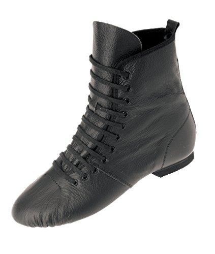 Rumpf Bota Jazz 1290 Cuero Zapato de Baile Cuero Jazz Bota Swing Ballet Hip Jazz Swing Ballet Lindy Gimnasia Deporte Aerobic Pro suela partida de cromo tacón goma Negro