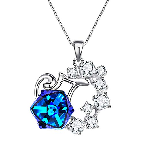 EleQueen 925 Sterling Silver CZ Square Aquarius Zodiac Constellation Sign Pendant Necklace Blue Made with Swarovski Crystals