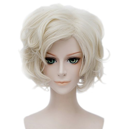 Wgior Women Short Synthetic Curly Wavy Hair Ladies Halloween Christmas Party Cosplay Costume Anime Wigs With Cap (Sassy Wigs)