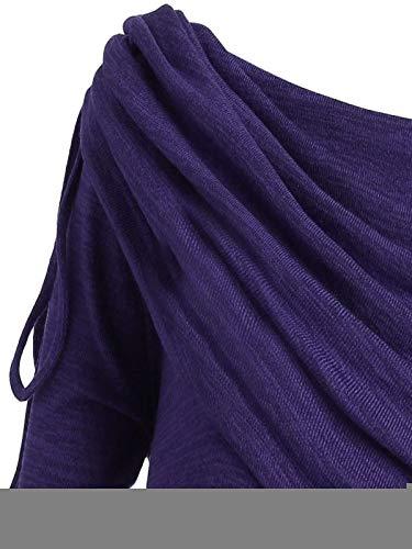 Auifor Adem/ás del Collar Collar de Forma Irregular de Manga Larga de Cuello Plisado de un Hombro Largo Abrigo de Las Mujeres de Talla Veces por Encima de la Parte Superior Cuello de la Camisa