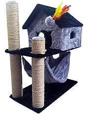 Arranhador Casinha para gatos com rede e brinquedo Cinza