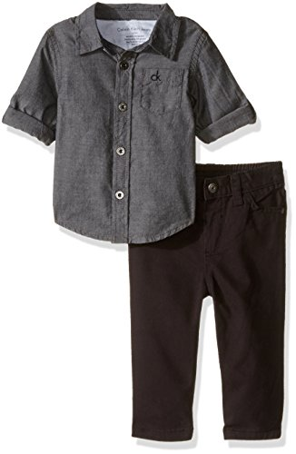 Calvin Klein Baby Shirt and Twill Pants Set, Gray, 3-6 Months