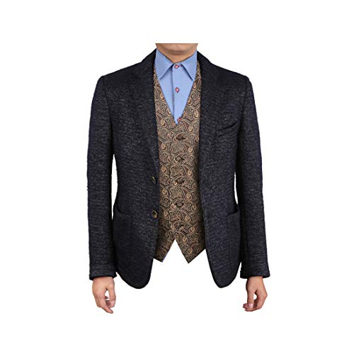 Epoint EGC1B08A-S Brown Black Paisley Infinity Shopstyle Waistcoat Woven Microfiber Men Wearing Vests Small ()