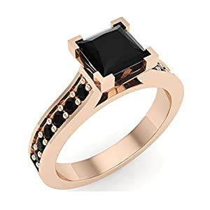 1.00 ct tw Black Natural Princess Diamond Engagement Ring 14K Rose Gold (Ring Size 7)