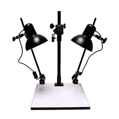 Image of Albinar 23 inch High Copy Macro Stand with 14 inch x 15.75 inch Base, Quick Release Mount, Bubble Level and Lights Copying Equipment