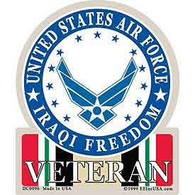 US Military Armed Forces Sticker Decal - USAF U.S. Air Force - United States Air Force Iraqi Freedom Eagle & Shield Seal Logo