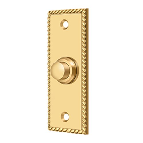Solid Brass Rectangular Rope Bell Button - Deltana Button Brass