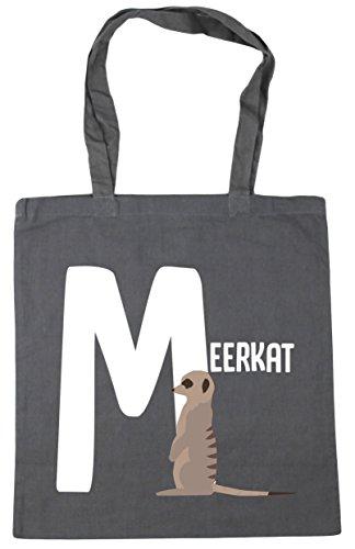 HippoWarehouse M is for meerkat alphabet animal Tote Shopping Gym Beach Bag 42cm x38cm, 10 litres Graphite Grey