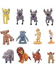 "HYSTYLE 12 Pcs Lion Figures, Mini King Figure Playset Toys, Animal Figure Characters Toys Mini Figure Collection Playset, Cupcake Topper, Cake Toppers, Cake Decoration, 1.57"" Tall"