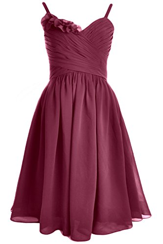Party MACloth Weinrot Spaghetti Short Formal Bridesmaid Straps Gown Dress Wedding ww1ZUBxq