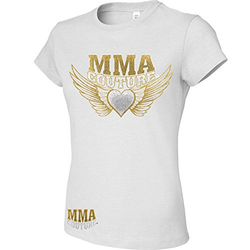 MMA Couture Shorts Sleeve Womens Girls New T Shirt MMA UFC Muay Thai White Sliver Gold Logo Size (Juicy Couture Wings)