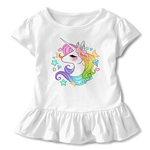 Unicorn Squad Cute Funny Unicorn Toddler Girls T Shirt Kids Cotton Short Sleeve Ruffle Tee