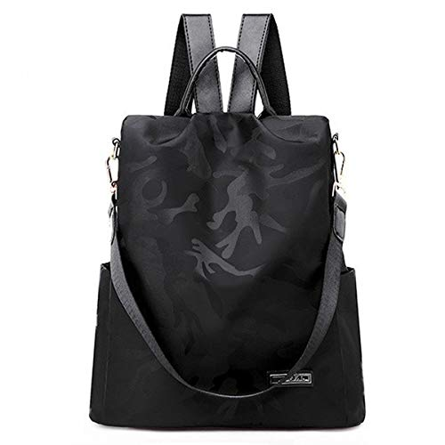 - AOPMGOE Women Backpack Camouflage Waterproof Nylon Anti-theft Rucksack Lightweight School Shoulder Bag (Black)