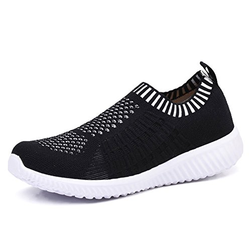 KONHILL Women's Lightweight Casual Walking Athletic Shoes Breathable Mesh Running Slip-on Sneakers, Black, 36