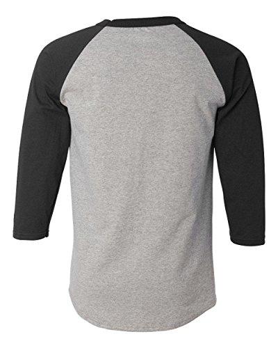 Champion Men's Raglan Baseball T-Shirt, Oxford Gray/Black, Small