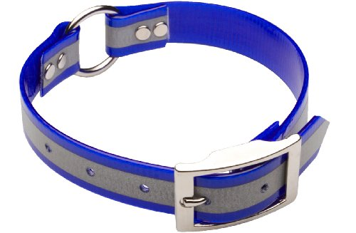 Premier Nite Lite Day-Glo Collar with Reflective Strip in Blue, Ring in Center, 1″ x 27″, My Pet Supplies