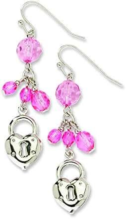 Silver-Tone Pink Glass Beads Dangle Earrings