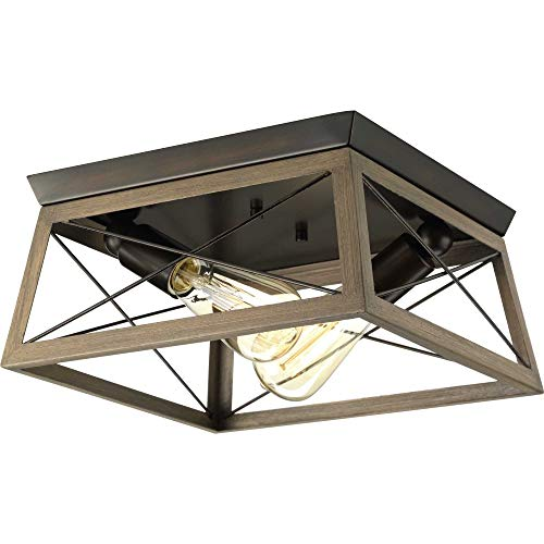 - Progress Lighting P350039-020 Briarwood Antique Bronze Two-Light Flush Mount