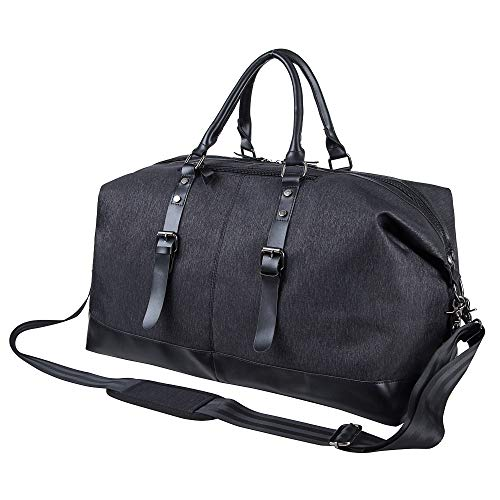 Oversized Leather Travel Duffel Bag,Leather Weekender Overnight Bag Large Carry On Bag Travel Tote Duffel Bag for Men or Women