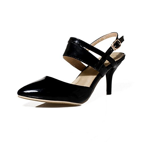 Amoonyfashion Damesschoen Met Dichte Hak Katoenen Hakken Gepatchte Lederen Sandalen Met Gesp Zwart