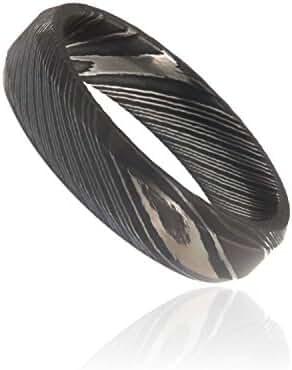 Damascus Steel Ring, Damascus Rings For Men Wide 6mm Premium Damascus Band