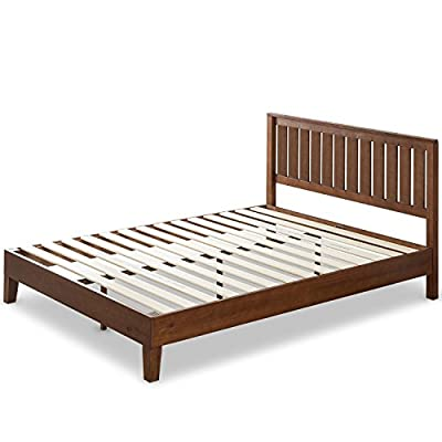 Zinus Wood Platform Bed with Headboard/No Box Spring Needed/Wood Slat Support/Antique Espresso Finish