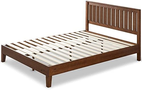 Zinus 12 Inch Deluxe Solid Wood Platform Bed with Headboard No Box Spring Needed Wood Slat Support Antique Espresso Finish, Queen