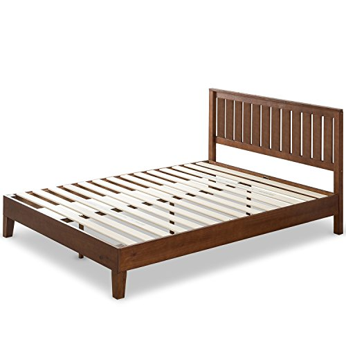 Pine Bed Finish (Zinus 12 Inch Deluxe Wood Platform Bed with Headboard/No Box Spring Needed/Wood Slat Support/Antique Espresso Finish, Queen)