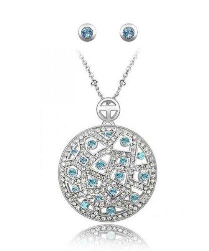 Pendentif (Hauteur avec bélière 3,8 cm ) Cristal irisé Turquoise Swarovski Eléments + chaine 48 cm Plaqué or Blanc 18 carats - Femme