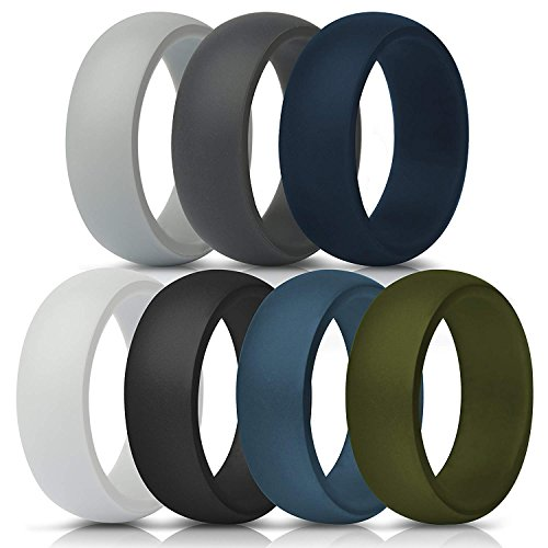 bC BimeTALliC CAble Silicone Rings for Men - 7 Pack, Comfortable & Durable Rubber Wedding Bands for Sports, Gym, Outdoors