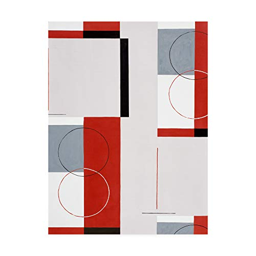 Trademark Fine Art ALI46116-C1419GG Circles with Red and Grey by Pablo Esteban, 14x19,