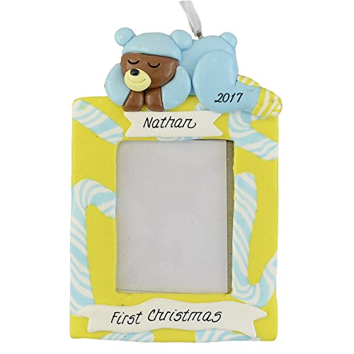 First Christmas Personalized Photo Frame Ornament - Baby Boy - Calliope Designs - Insert your Photo of Baby - 5