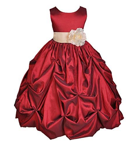 - ekidsbridal Taffeta Pick-Up Bubble Apple Red Flower Girl Dresses Recital Dress Birthday Girl Dresses Communion Dress 301S 8