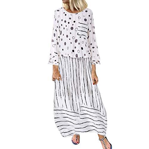 Womens Floral Printed Maxi Dress Casual Summer Sundress Long Boho Beach Dress Plus Size ❤LIM&Shop Short/Long Sleeve Top