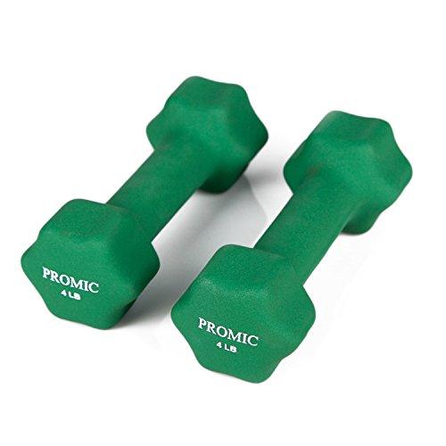 PROMIC 4 lbs Hand Weights Deluxe Solid Neoprene Dumbbells with Non-Slip Grip Hand Weights Hex Dumbbells for Women Men Children (Set of 2)