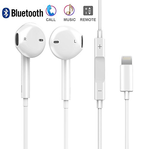 iPhone 8 Earphones Lightning Headphones, DPKIKO Bluetooth Lightning Earbuds Stereo Headphone Noise Cancelling with Microphone and Remote Control for iPhone X 8/8Plus 7/7Plus