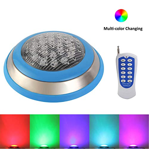 RSN LED Swimming Pool Light,54W RGB Color Changing with RF Remote Controller,LED Underwater Lights for Decorating Pool,Rockery,Fountain,Pond (54) ()